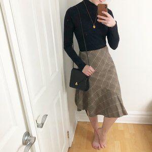 Vintage Parisian Plaid Handkerchief Midi Skirt